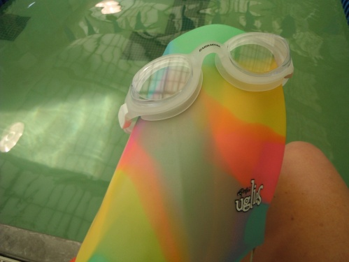 Ohhh, new goggles (that don't fog up after 4 laps like my old ones!) and a super comfy, cute cap from Santa Sissy! Yay!